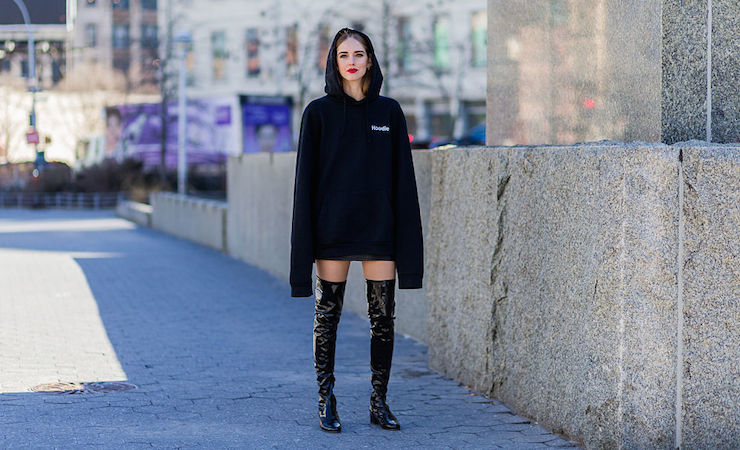 NEW YORK, NY - FEBRUARY 18: Chiara Ferragni wearing a black Vetements hoody and black Chiara Ferragni collection boots seen outside Calvin Klein during New York Fashion Week: Women's Fall/Winter 2016 on February 18, 2016 in New York City.  (Photo by Christian Vierig/Getty Images)